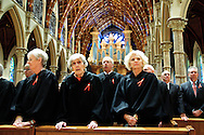 "Illinois Supreme Court Justices (L to R) Mary Jane Theis, Mary Ann G. McMorrow (retired) and Anne M. Burke attend the 78th Annual Votive Mass of the Holy Spirit, or ""Red Mass"" at Holy Name Cathedral in Chicago. September 30, 2012 l Brian J. Morowczynski~ViaPhotos..For use in a single edition of Catholic New World Publications, Archdiocese of Chicago. Further use and/or distribution may be negotiated separately. Contact ViaPhotos at 708-602-0449 or email brian@viaphotos.com."