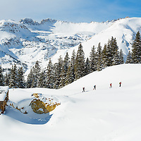 Backcountry skiing on Red Mountain Pass in southern Colorado.