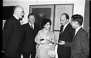03/02/1964<br /> 02/03/1964<br /> 03 February 1964 <br /> Opening of Coras Trachtala Japanese Design Exhibition at Municipal Art Gallery, (The Hugh Lane Gallery) Dublin. Picture shows (l-r): Rev. Fr Donal O'Sullivan, SJ, Chairman Art Council; Mr John Haughey, Chairman C.T.T.; Mrs Satoshi Ushioda; Dr P.J. Hillery, Minister for Education and Dr Satoshi Ushioda, UCD.