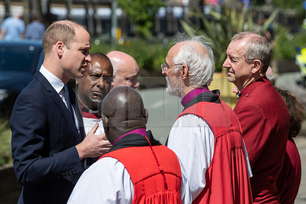 © Licensed to London News Pictures . 22/05/2018 . Manchester , UK . PRINCE WILLIAM is greeted by dignitaries , including Bishop DAVID WALKER , JOHN SENTAMU, SIR RICHARD LEESE and ANDY BURNHAM (shaking hands), at Manchester Cathedral ahead of a Service of Remembrance on the first anniversary of the Manchester Arena bombing . On the evening of 22nd May 2017 , Salman Abedi murdered 22 people and seriously injured dozens more , when he exploded a bomb in the  foyer of the Manchester Arena as concert-goers were leaving an Ariana Grande gig . Photo credit : Joel Goodman/LNP