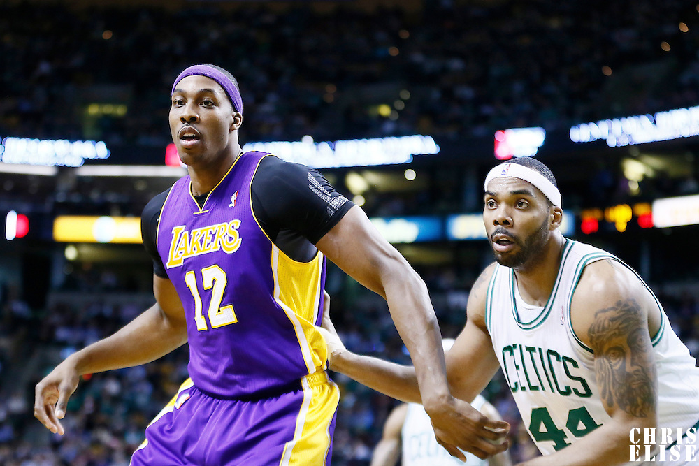 07 February 2013: Boston Celtics power forward Chris Wilcox (44) defends on Los Angeles Lakers center Dwight Howard (12) during the Boston Celtics 116-95 victory over the Los Angeles Lakers at the TD Garden, Boston, Massachusetts, USA.