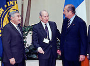 French President Jacques Chirac (R) meets with International Monetary Fund by Managing Director Michel Camdessus (C) and World Bank President James Wolfensohn at the IMF February 18, 1999 in Washington, DC. Chirac is scheduled for talks with President Clinton that will focus on security issues in Europe and reform of the global financial system.