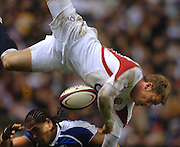 2005 Rugby, Investec Challenge, England vs Manu Samoa, Mark Cueto is up ended by Alesana  Tuilagi reckless tackle. RFU Twickenham, ENGLAND:     26.11.2005   © Peter Spurrier/Intersport Images - email images@intersport-images..