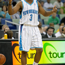 Oct 10, 2009; New Orleans, LA, USA; New Orleans Hornets guard Chris Paul reacts to play during the first quarter against the Oklahoma City Thunder at the New Orleans Arena. Mandatory Credit: Derick E. Hingle-US PRESSWIRE