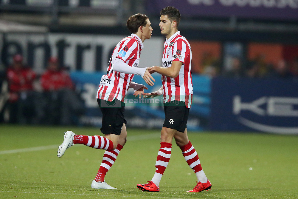 Craig Goodwin of Sparta Rotterdam, Loris Brogno of Sparta Rotterdam during the Dutch Eredivisie match between Sparta Rotterdam and sc Heerenveen at the Sparta stadium Het Kasteel on November 03, 2017 in Rotterdam, The Netherlands