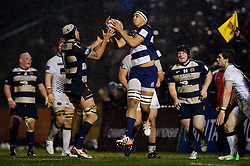 Bristol replacement (#19) Ben Glynn takes a high ball during the second half of the match - Photo mandatory by-line: Rogan Thomson/JMP - Tel: Mobile: 07966 386802 25/01/2013 - SPORT - RUGBY - Memorial Stadium - Bristol. Bristol v Leeds Carnegie - RFU Championship.