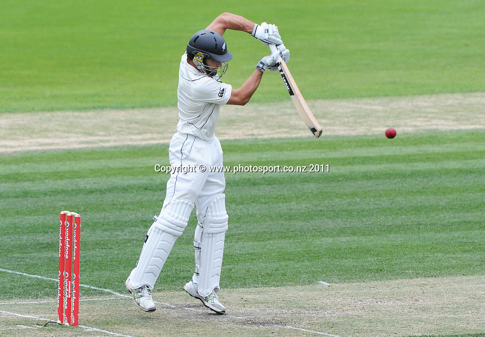 Dean Brownlie batting on Day 3 of the second cricket test between Australia and New Zealand Black Caps at Bellerive Oval in Hobart, Sunday 11 December 2011. Photo: Andrew Cornaga/Photosport.co.nz