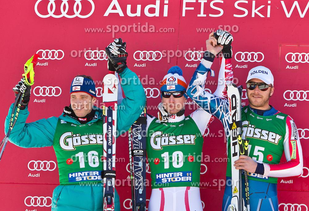 05.02.2011, Hannes-Trinkl-Strecke, Hinterstoder, AUT, FIS World Cup Ski Alpin, Men, Hinterstoder, Super-G, im Bild zweiter Benjamin RAICH (AUT), Sieger Hannes REICHELT (AUT), dritter Bode MILLER (USA) // second Benjamin RAICH (AUT), Hannes REICHELT (AUT) winner and third place Bode MILLER (USA) during FIS World Cup Ski Alpin, Men, Super-G in Hinterstoder, Austria, February 05, 2011, EXPA Pictures © 2011, PhotoCredit: EXPA/ J. Feichter