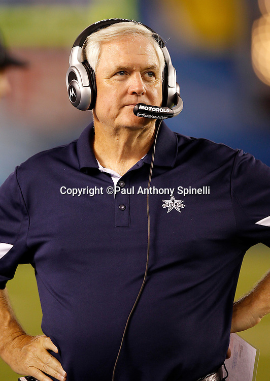 Dallas Cowboys Head Coach Wade Phillips looks on during a NFL week 2 preseason football game against the San Diego Chargers on Saturday, August 21, 2010 in San Diego, California. The Cowboys won the game 16-14. (©Paul Anthony Spinelli)