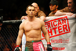 April 19, 2008; Montreal, Quebec, CAN;  Rich Franklin(brown/pink trunks) and Travis Lutter (black trunks) battle during their middleweight bout at the Bell Centre in Montreal, Canda at UFC 83.  Franklin knocked out Lutter in the 2nd round.