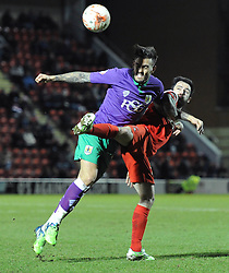 Bristol City's Marlon Pack challenges for the ball with Leyton Orient's Chris Dagnall - Photo mandatory by-line: Dougie Allward/JMP - Mobile: 07966 386802 - 03/03/2015 - SPORT - football - Leyton - Brisbane Road - Leyton Orient v Bristol City - Sky Bet League One