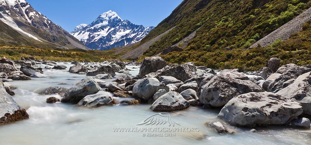 Hooker River in the Hooker Valley, Mount Cook, New Zealand