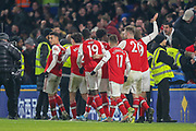 GOAL 1-1 Arsenal forward Gabriel Martinelli (35) scores and celebrates during the Premier League match between Chelsea and Arsenal at Stamford Bridge, London, England on 21 January 2020.