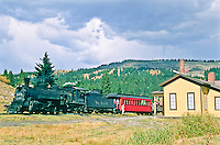 Cumbres & Toltec Scenic Railroad.  The train stops at the summit of 10,015 ft. Cumbres Pass.