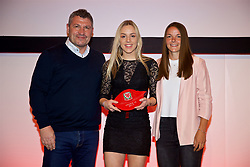 NEWPORT, WALES - Saturday, May 19, 2018: Isabella Reidford is presented with her Under-16's cap by Osian Roberts (left) and Lauren Dykes (right) during the Football Association of Wales Under-16's Caps Presentation at the Celtic Manor Resort. (Pic by David Rawcliffe/Propaganda)