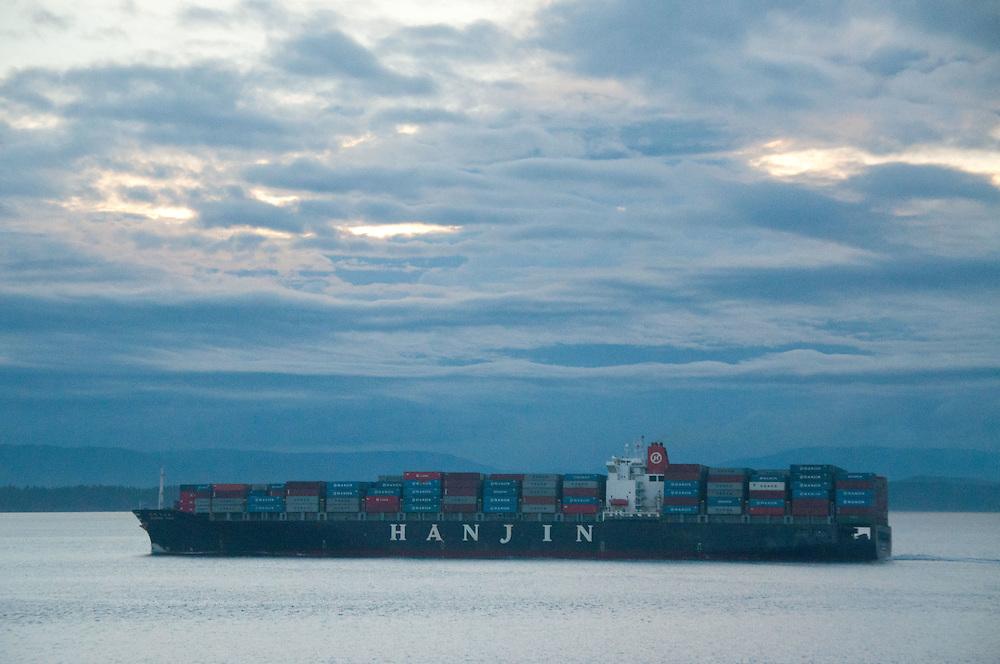 Freighter on Boundary Pass, Stuart Island, Washington, US
