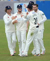 Benny Howell of Gloucestershire celebrates catching out Steven Crook of Northamptonshire from Jack Taylor of Gloucestershire bowl - Photo mandatory by-line: Dougie Allward/JMP - Mobile: 07966 386802 - 08/07/2015 - SPORT - Cricket - Cheltenham - Cheltenham College - LV=County Championship 2