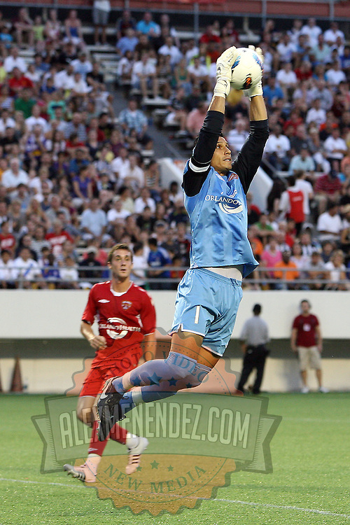 Goalkeeper Miguel Gallardo makes a save during an International Friendly soccer match between English Premier League team Newcastle United and the Orlando City Lions of the United Soccer League, at the Florida Citrus Bowl on Saturday, July 23, 2011 in Orlando, Florida. Orlando won the match 1-0. (AP Photo/Alex Menendez)