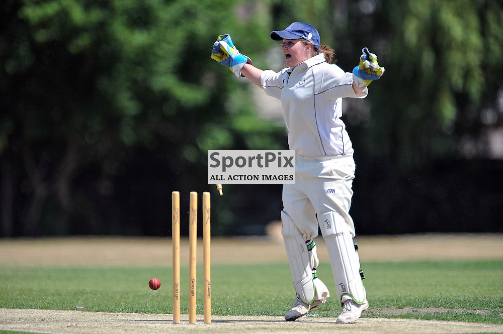 Hampshire Keeper Naomi Lynch appeals for a direct run out of the fielding of Emily Windsor, Hampshire Women v Scotland Women - ECBCC3 - 15 July 2013 (c) Dave Vokes | SportPix.org.uk