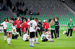 Dissappointed players of Germany during trophy ceremony after the UEFA European Under-17 Championship Final match between Germany and Netherlands on May 16, 2012 in SRC Stozice, Ljubljana, Slovenia. Netherlands defeated Germany after penalty shots and became European Under-17 Champion 2012. (Photo by Vid Ponikvar / Sportida.com)