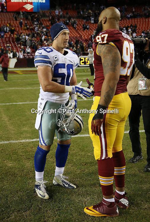 Dallas Cowboys outside linebacker Sean Lee (50) shakes hands with Washington Redskins defensive end Jason Hatcher (97) after the 2015 week 13 regular season NFL football game against the Washington Redskins on Monday, Dec. 7, 2015 in Landover, Md. The Cowboys won the game 19-16. (©Paul Anthony Spinelli)