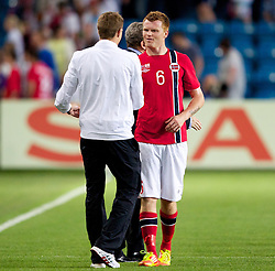 26.05.2012, Ullevaal Stadion, Oslo, NOR, UEFA EURO 2012, Testspiel, Norwegen vs England, im Bild England's captain Steven Gerrard (Liverpool) and Norway's John Arne Riise (Fulham) during the Preparation Game for the UEFA Euro 2012 betweeen Norway and England at the Ullevaal Stadium, Oslo, Norway on 2012/05/26. EXPA Pictures © 2012, PhotoCredit: EXPA/ Propagandaphoto/ Vegard Grott..***** ATTENTION - OUT OF ENG, GBR, UK *****