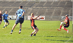 Shot Stopper Swinford goalkeeper Aaron Kinsella blocks Westport Sean Brogan's shot during the junior B final replay at McHale Park in Castlebar.<br /> Pic Conor McKeown