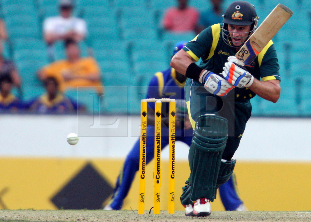 © Licensed to London News Pictures. 17/02/2012. Sydney Cricket Ground, Australia. Micheal Hussey plays an on drive shot during the One Day International cricket match between Australia Vs Sri Lanka. Photo credit : Asanka Brendon Ratnayake/LNP
