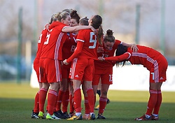 ZENICA, BOSNIA AND HERZEGOVINA - Tuesday, November 28, 2017: Wales' Kayleigh Green [#9] scores the first goal with team-mates during the FIFA Women's World Cup 2019 Qualifying Round Group 1 match between Bosnia and Herzegovina and Wales at the FF BH Football Training Centre. (Pic by David Rawcliffe/Propaganda)