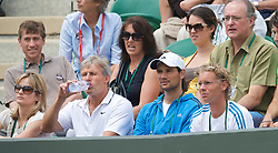 LONDON, ENGLAND - Monday, June 22, 2009: Laura Robson's mother Kathy and her fitness coach Floris Minnaert (blue shirt) and coach Martijn Bok (glasses) look on during her 6-3, 4-6, 2-6 defeat during the 1st Round of the Ladies' Singles on day one of the Wimbledon Lawn Tennis Championships at the All England Lawn Tennis and Croquet Club. (Pic by David Rawcliffe/Propaganda)