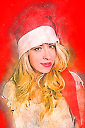 Digitally enhanced image of a portrait of a young Blonde woman with Santa Hat