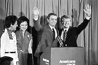 1976, Manhattan, New York City, New York State, USA --- Candidates Jimmy Carter and Walter Mondale stand with their wives at a 1976 Democratic Convention press conference. --- Image by © Owen Franken/Corbis