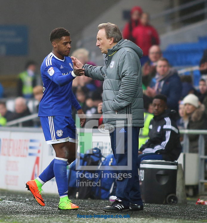 Kenneth Zohore and Neil Warnock of Cardiff City during the Sky Bet Championship match at the Cardiff City Stadium, Cardiff<br /> Picture by Mike Griffiths/Focus Images Ltd +44 7766 223933<br /> 18/03/2017