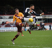Motherwell&rsquo;s Ben Hall challenges Dundee&rsquo;s Kane Hemmings - Dundee v Motherwell, Ladbrokes Premiership at Dens Park <br /> <br />  - &copy; David Young - www.davidyoungphoto.co.uk - email: davidyoungphoto@gmail.com