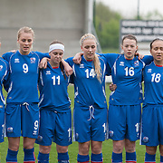 21120413 - IEPER, BELGIUM : Lára Einarsdóttir (7), Svava Gudmundsdóttir (9), Telma Thrastardóttir (11), Gudrún Arnardóttir (14), Sandra Jessen (16), Rakel Einarsdóttir (18) from Iceland are pictured here  during the Second qualifying round of U17 Women Championship between England and Iceland on Friday April 13th, 2012 in Ieper, Belgium.