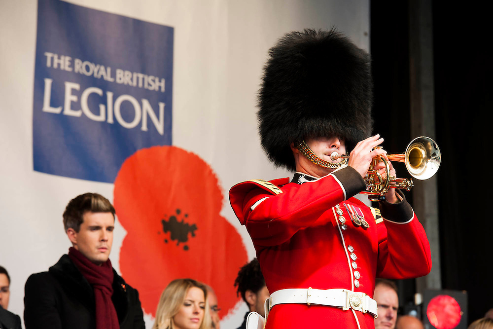 A Bugler Laing. remembrance event in Trafalgar Square included a two minute silence and poppies being placed in the fountains.