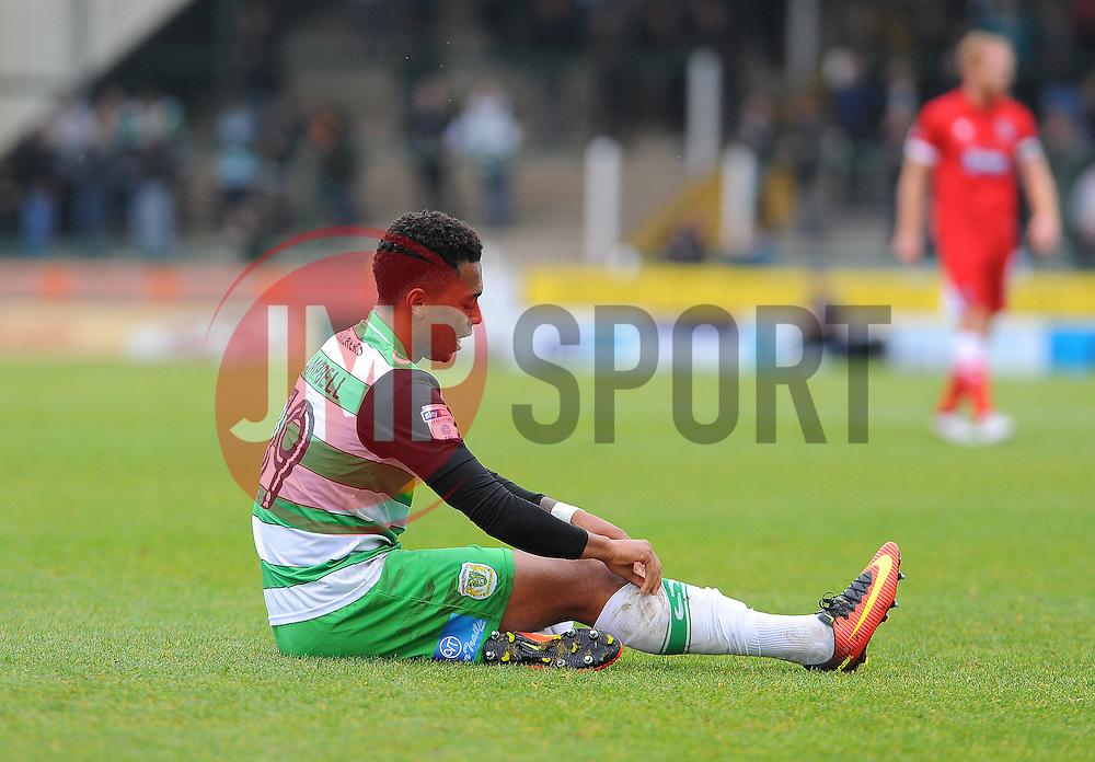 Tahvon Campbell of Yeovil Town picks up an injury - Mandatory by-line: Nizaam Jones/JMP - 29/10/2016/ - FOOTBALL - Hush Park - Yeovil, England - Yeovil Town v Grimsby Town - Sky Bet League Two