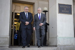 April 26, 2018 - Arlington, VA, United States of America - U.S. Secretary of Defense Jim Mattis escorts Israeli Defense Minister Avigdor Lieberman, left, to his vehicle following their bilateral meeting at the Pentagon April 26, 2018 in Arlington, Virginia. (Credit Image: © Kathryn E. Holm/Planet Pix via ZUMA Wire)
