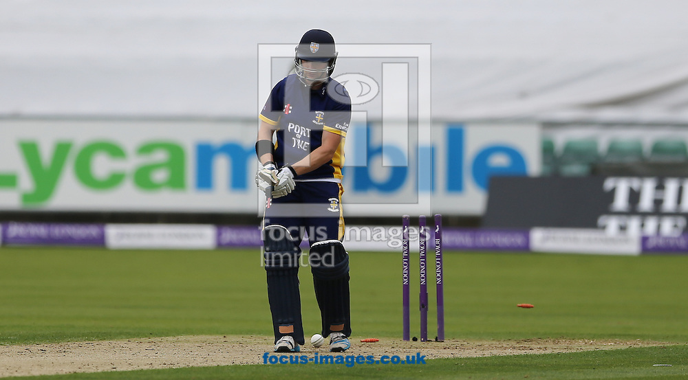 Mark Stoneman of Durham County Cricket Club bowled during the Royal London One Day Cup match at Emirates Durham ICG, Chester-le-Street<br /> Picture by Simon Moore/Focus Images Ltd 07807 671782<br /> 06/09/2014
