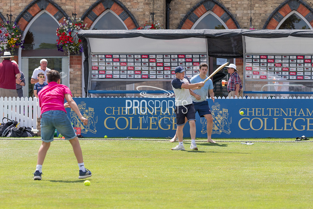 Youngsters enjoying the lunch break during the Specsavers County Champ Div 2 match between Gloucestershire County Cricket Club and Leicestershire County Cricket Club at the Cheltenham College Ground, Cheltenham, United Kingdom on 15 July 2019.