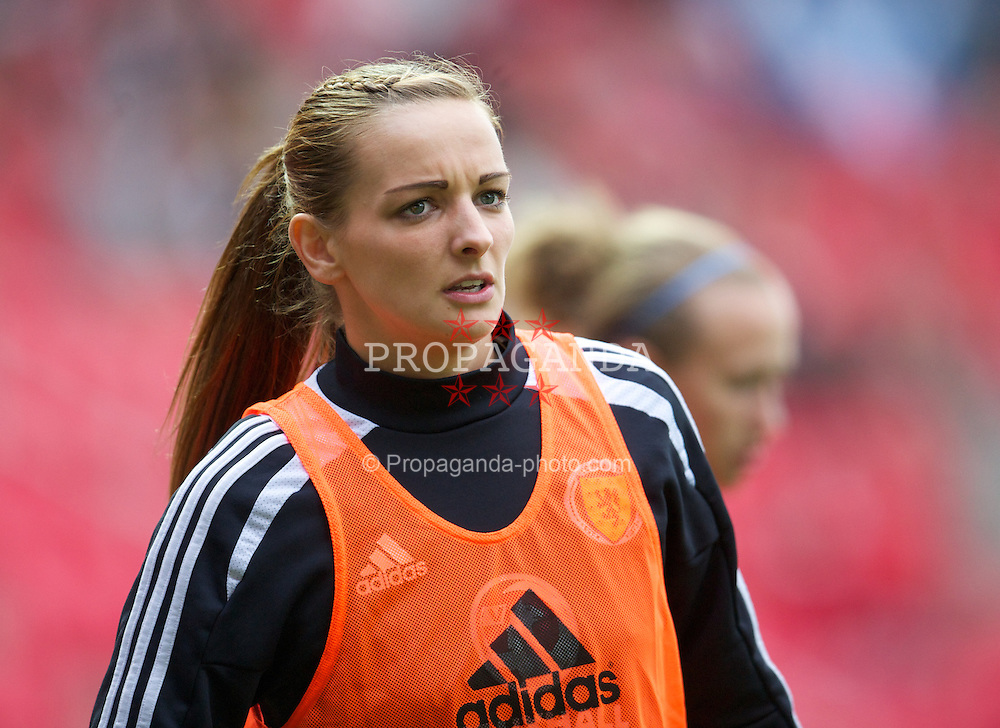 LLANELLI, WALES - Saturday, September 15, 2012: Scotland's substitute Suzanne Grant warms-up during the UEFA Women's Euro 2013 Qualifying Group 4 match against Wales at Parc y Scarlets. (Pic by David Rawcliffe/Propaganda)