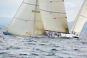 Wright on White KZ 3 and Hissar KZ 5, 12 Meter Class, racing in the Valencia 12 Metre Regatta.