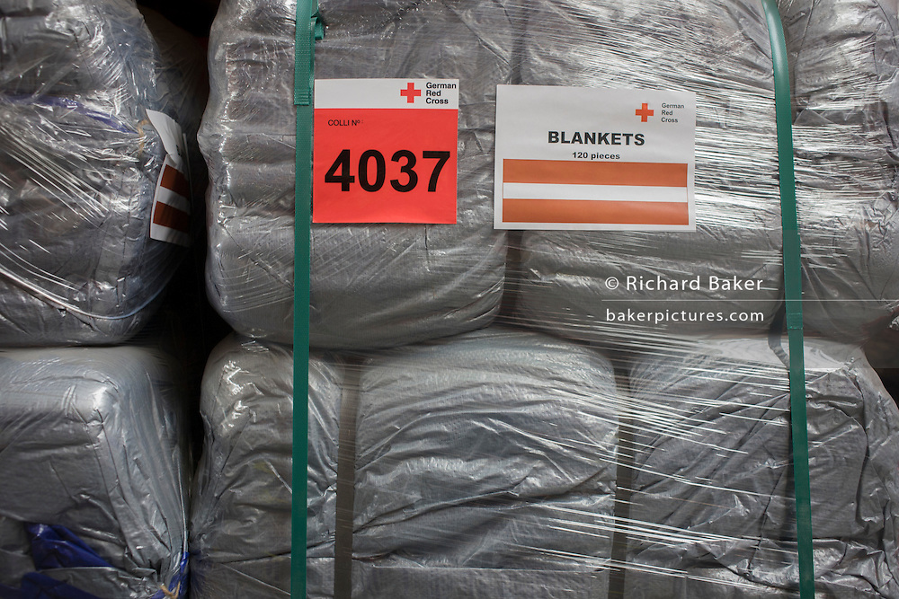 Blankets in emergency supplies warehouse, Deutsches Rotes Kreuz (DRK - German Red Cross) at their logistics centre at Berlin-Schönefeld airport.