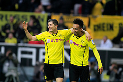 01.03.2014, Signal Iduna Park, Dortmund, GER, 1. FBL, Borussia Dortmund vs 1. FC Nuernberg, 23. Runde, im Bild ^Robert Lewandowski (Borussia Dortmund #9), Pierre-Emerick Aubameyang (Borussia Dortmund #17) beim Torjubel nach dem Treffer zum 2:0, Emotion, Freude, Glueck, Positiv // during the German Bundesliga 23th round match between Borussia Dortmund and 1. FC Nuernberg at the Signal Iduna Park in Dortmund, Germany on 2014/03/01. EXPA Pictures © 2014, PhotoCredit: EXPA/ Eibner-Pressefoto/ Schueler<br /> <br /> *****ATTENTION - OUT of GER*****