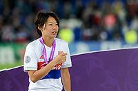 Saki Kumagai of Olympique Lyon celebrates the victory during the UEFA Women's Champions League Final between Lyon Women and Paris Saint Germain Women at the Cardiff City Stadium, Cardiff, Wales on 1 June 2017. Photo by Giuseppe Maffia.<br /> <br /> Giuseppe Maffia/UK Sports Pics Ltd/Alterphotos