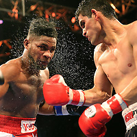 WINTER PARK, FL - AUGUST 02:  Jorge Cota of Sinaloa, Mexico (R) lands a right cross to the face of Yudel Jhonson of Havan, Cuba, during the Premier Boxing Champions on Bounce TV boxing match at Full Sail University - Ebbs Auditorium on August 2, 2015 in Winter Park, Florida. Cota won the bout by unanimous decision. (Photo by Alex Menendez/Getty Images) *** Local Caption *** Yudel Jhonson; Jorge Cota