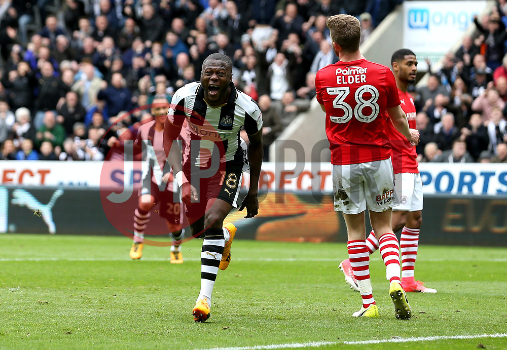 Chancel Mbemba of Newcastle United celebrates scoring a goal ro make it 2-0 - Mandatory by-line: Robbie Stephenson/JMP - 07/05/2017 - FOOTBALL - St James Park - Newcastle upon Tyne, England - Newcastle United v Barnsley - Sky Bet Championship