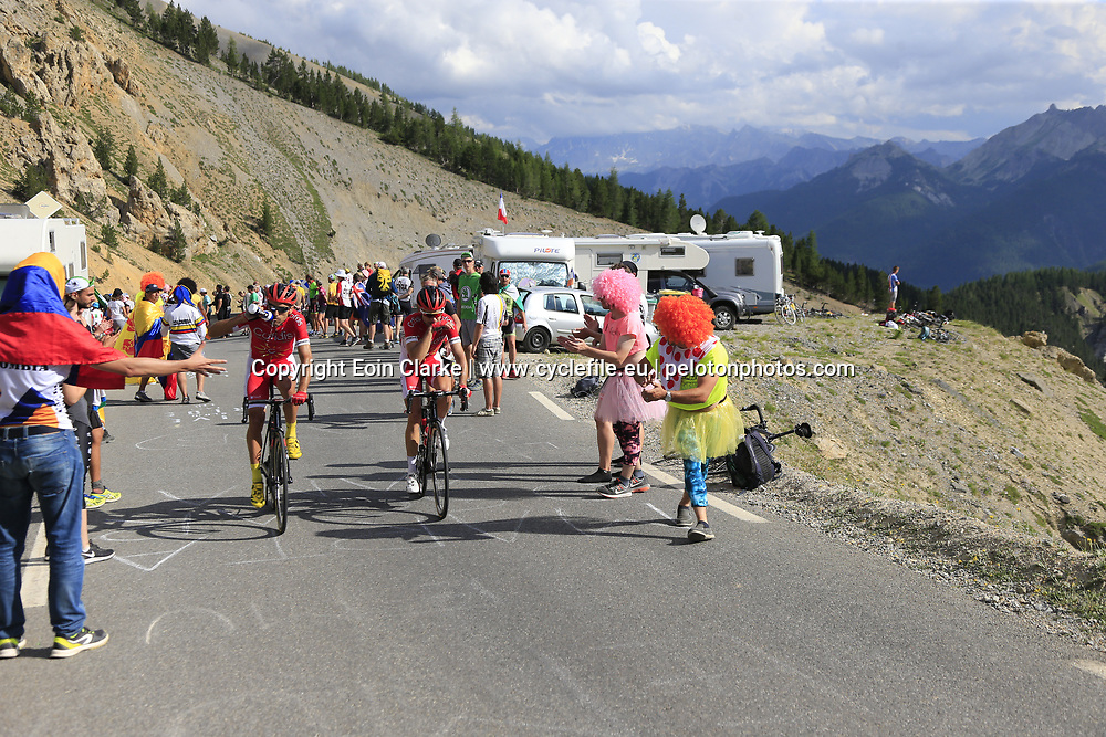 Luis Angel Mate (ESP) and Nicolas Edet (FRA) Cofidis climb Col d'Izoard during Stage 18 of the 104th edition of the Tour de France 2017, running 179.5km from Briancon to the summit of Col d'Izoard, France. 20th July 2017.<br /> Picture: Eoin Clarke | Cyclefile<br /> <br /> All photos usage must carry mandatory copyright credit (&copy; Cyclefile | Eoin Clarke)