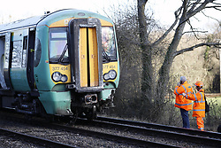 © Licensed to London News Pictures. 17/02/2018. Horsham, UK. The scene at a level crossing where two people have been killed near the village of Barns Green after a train hit a car. Photo credit: Peter Macdiarmid/LNP