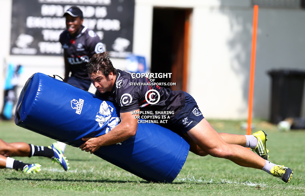 Juan Schoeman during The Cell C Sharks Pre Season training, session at Growthpoint Kings Park in Durban, South Africa. 16 February 2017(Photo by Steve Haag)<br /> <br /> images for social media must have consent from Steve Haag